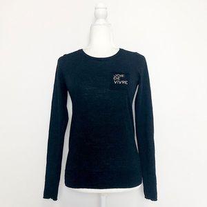 Catherine Malandrino Black Extra Fine Merino Wool Joie De Vivre Sweater XS